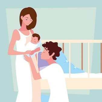 Parents avec personnage avatar bébé