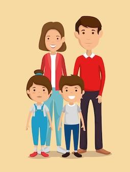 Parents avec des personnages avatars enfants