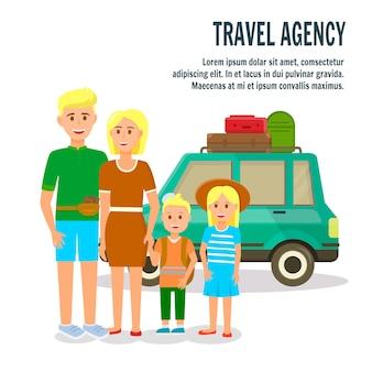 Parents et petits enfants à la voiture coupée verte