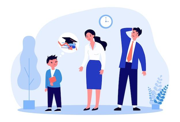 Les parents sont mécontents des mauvais résultats scolaires de leurs fils. élève mâle pleurant illustration vectorielle plane. cale, éducation, échec, concept de parentalité pour bannière, conception de site web ou page web de destination