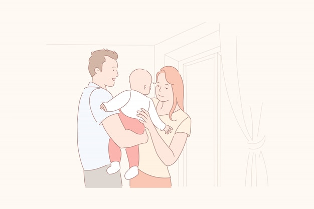 Parents, tenue, leur, bébé, illustration