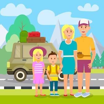 Parents voyageant avec des enfants. vacances d'été.