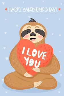 Paresseux amoureux. carte de saint valentin