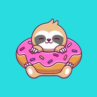 Paresseux avec donut balloon cartoon icon illustration. concept d'icône de nourriture animale isolé premium. style de bande dessinée plat