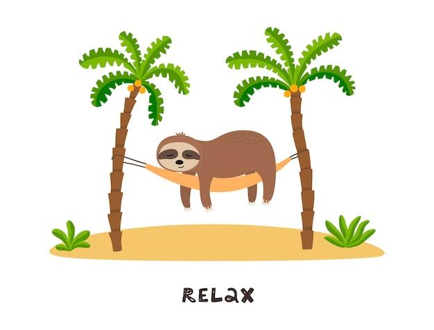 Le paresseux du dessin animé dort dans un hamac sous les palmiers.