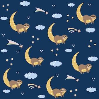 Paresseux sur la lune parmi les nuages et les étoiles, motif pour enfants sur fond bleu foncé
