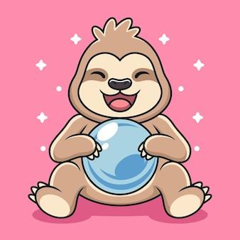 Paresseux mignon avec dessin animé de boule magique.