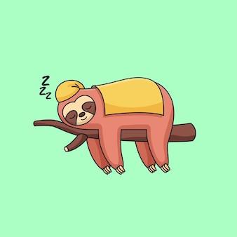 Paresseux mignon dormant portant une couverture sur des brindilles illustration vectorielle de dessin animé animal