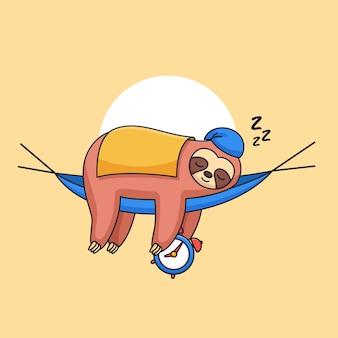 Paresseux mignon dormant portant une couverture et tenant une illustration vectorielle de réveil animal dessin animé