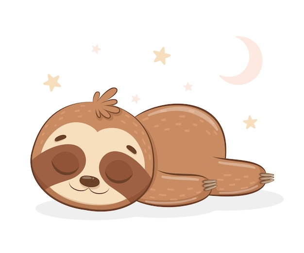 Le paresseux mignon dort doucement.cartoon