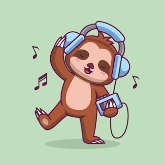 Paresseux mignon écoutant de la musique avec une illustration de dessin animé de casque
