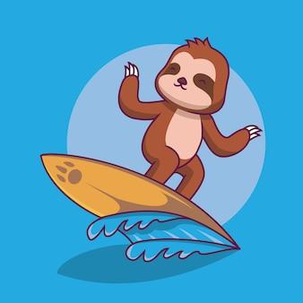 Paresseux mignon jouant l'illustration de dessin animé de surf