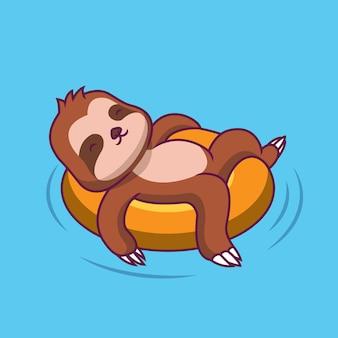 Paresseux mignon nageant avec illustration de dessin animé ballon