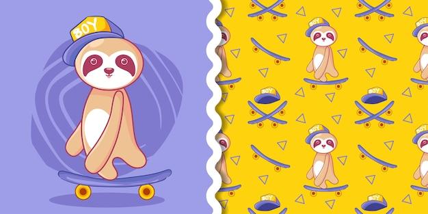 Paresseux mignon skateboard paresseux avec jeu de motifs