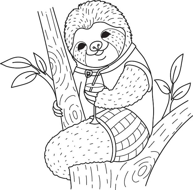 Paresseux mignon tenant un verre à cocktail sur les arbres pour cahier de coloriage, coloriage. illustration