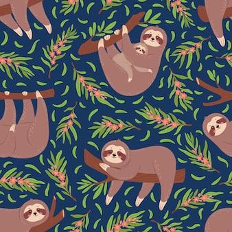 Paresseux mignons sur le modèle sans couture de branche pour la texture de vecteur d'impression textile de papier peint de pépinière