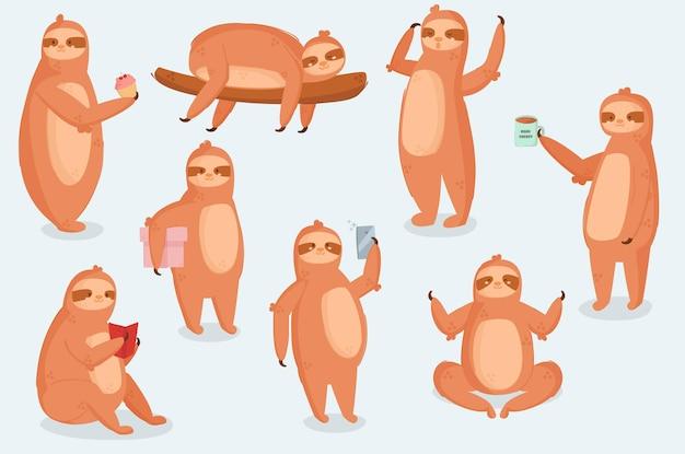 Paresseux personnage animal différentes poses