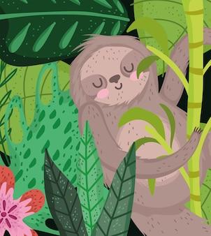 Paresseux suspendu à une branche d'arbre fleur laisse safari cartoon