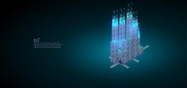 Parfait pour la conception web, la bannière et la présentation. analyse des données et visualisation isométrique