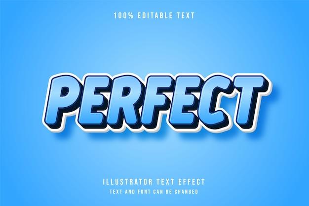 Parfait, style de bande dessinée de dégradé bleu effet de texte modifiable 3d