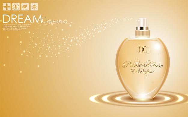Parfum dans une bouteille en verre sur fond d'or