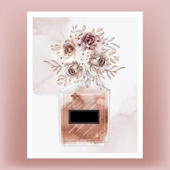 Parfum avec illustration aquarelle fleur en terre cuite