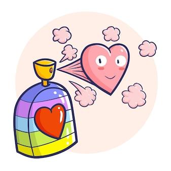 Parfum de saint-valentin drôle et coloré dans un style doodle kawaii