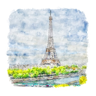 Paris france aquarelle croquis illustration dessinée à la main