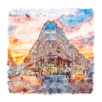 Paris France Aquarelle Croquis Illustration Dessinée à La Main Vecteur Premium