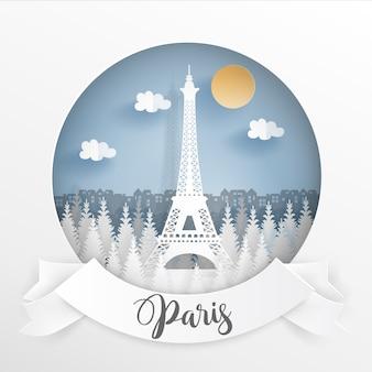 Paris, france avec cadre blanc et étiquette.