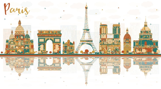 Paris france city skyline avec repères de couleur. illustration vectorielle. concept de voyage d'affaires et de tourisme avec des bâtiments historiques. paysage urbain de paris avec des points de repère.
