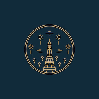 Paris france eifel tower monoline ligne art badge
