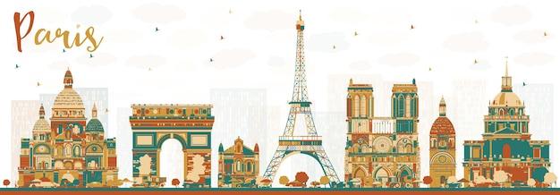Paris france skyline avec repères de couleur. illustration vectorielle. concept de voyage d'affaires et de tourisme avec des bâtiments historiques. paysage urbain de paris.
