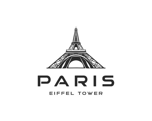 Paris tour eiffel logo design vector illustration