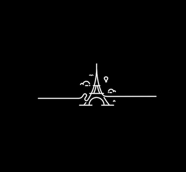 Paris, tour eiffel, paris cartoon art, carte postale, line art vector illustration