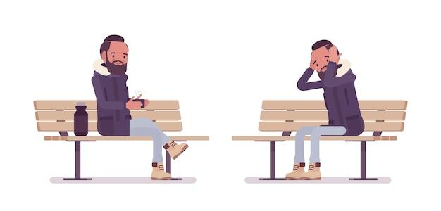 Parka homme assis sur un banc de parc