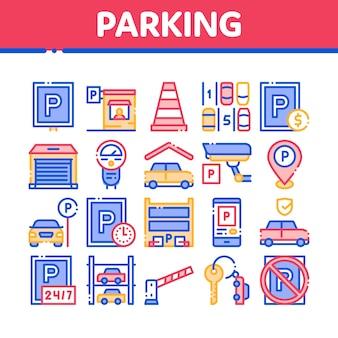 Parking car collection elements icons set