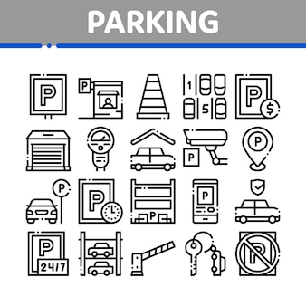 Parking car collection elements icons set