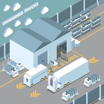Parking pour véhicules autonomes isométriques