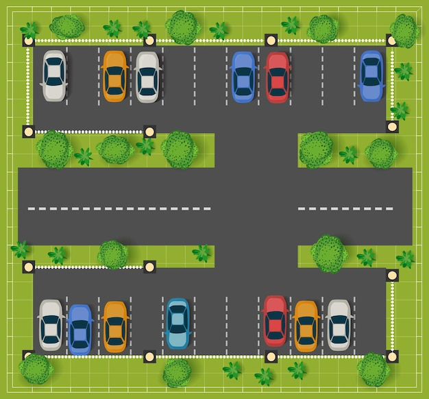Parking sur la route vue d'en haut avec des voitures et des arbres.