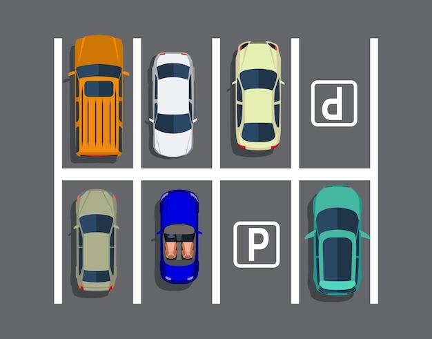 Parking de la ville avec différentes voitures.