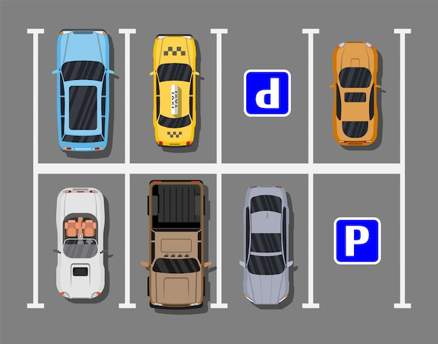 Parking de la ville avec différentes voitures