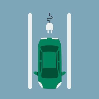 Parking voiture électrique. voiture de tourisme sur un espace de stationnement pour le chargement, vue de dessus.