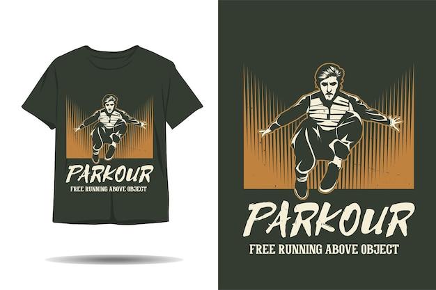 Parkour course libre au-dessus de la conception de t-shirt silhouette d'objet