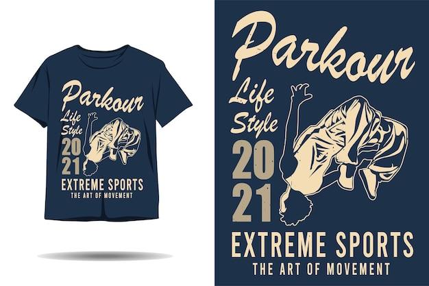Parkour style de vie sports extrêmes l'art de la conception de t-shirt silhouette de mouvement