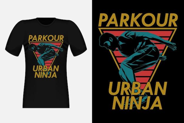Parkour urban ninja silhouette vintage t-shirt design illustration