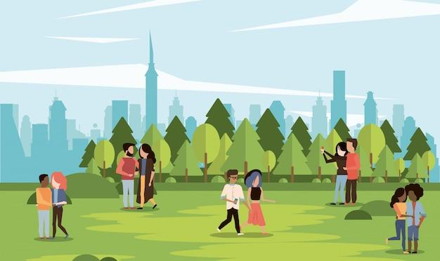 Parkscape avec des couples