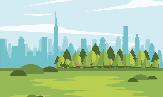 Parkscape avec forme de ville