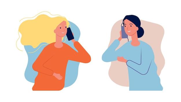 Parler au téléphone. les copines femmes ont une conversation. illustration plate de dessin animé