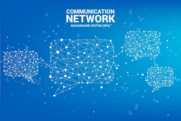 Parler bulle icône avec des connexions de points et de lignes